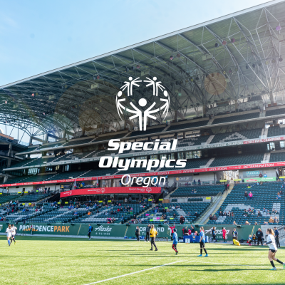 Photo of Providence park with Special Olympics Oregon Logo overlaid and centered.
