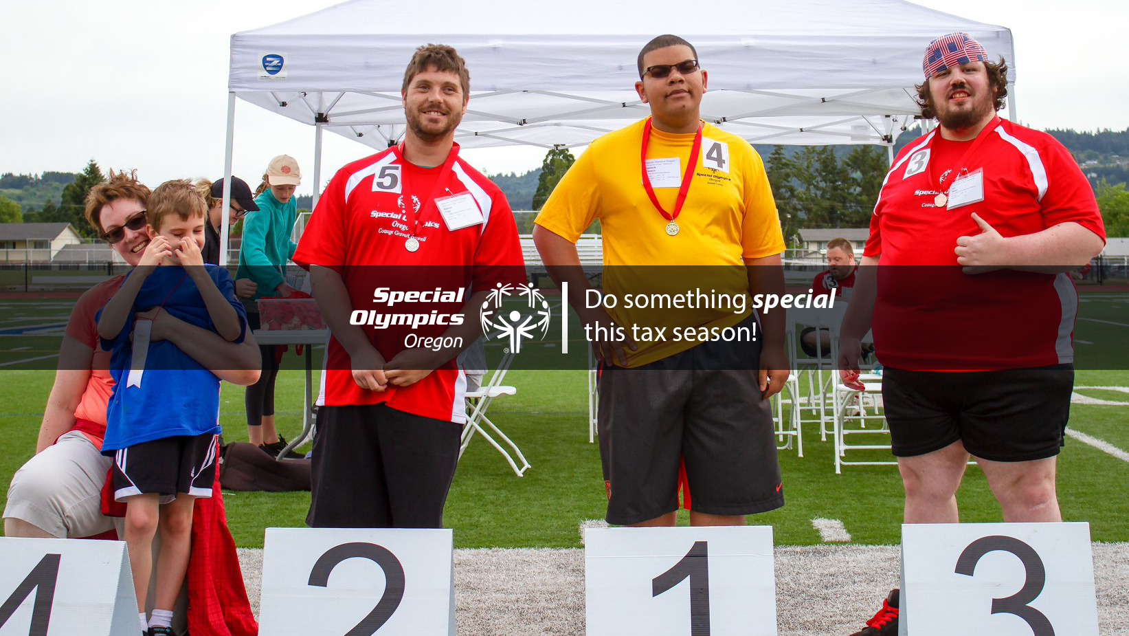 "Photo with Athletes in background and text that reads ""do something special this tax season"""