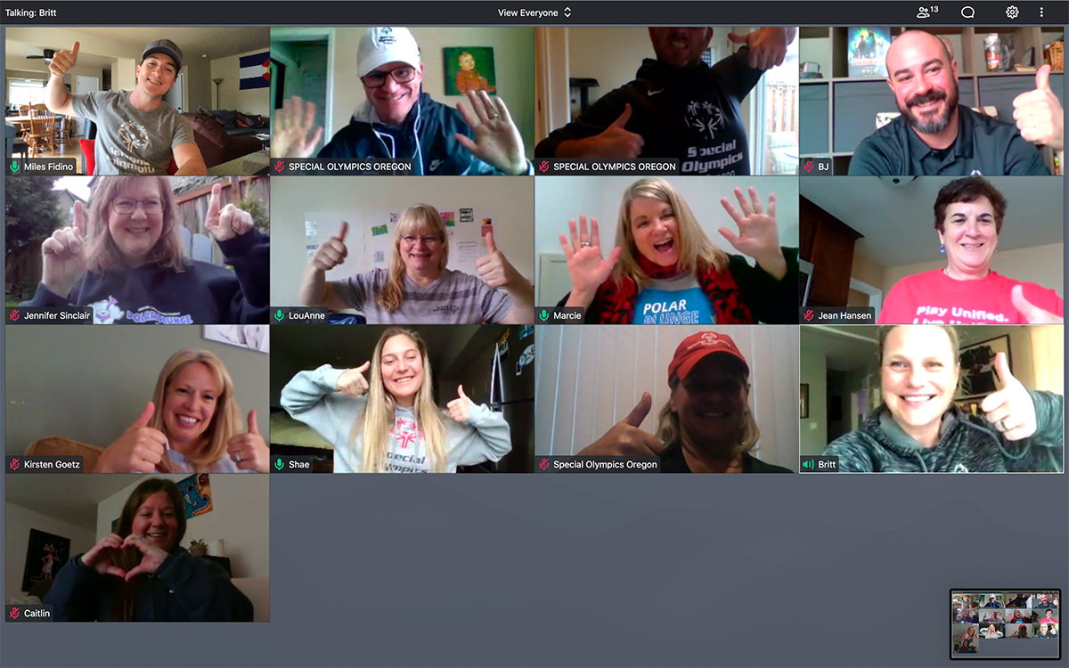 Photo of SOOR team in virtual meeting. Everyone is giving thumbs up and posing for photo.