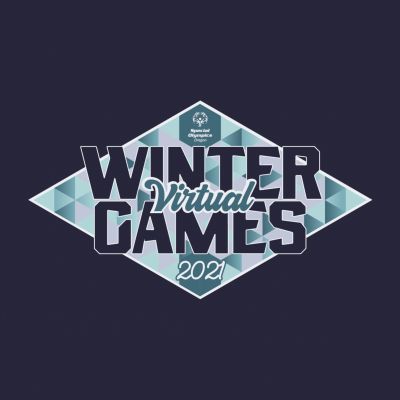 Winter virtual games logo: Diamond shape with blue triangle pattern