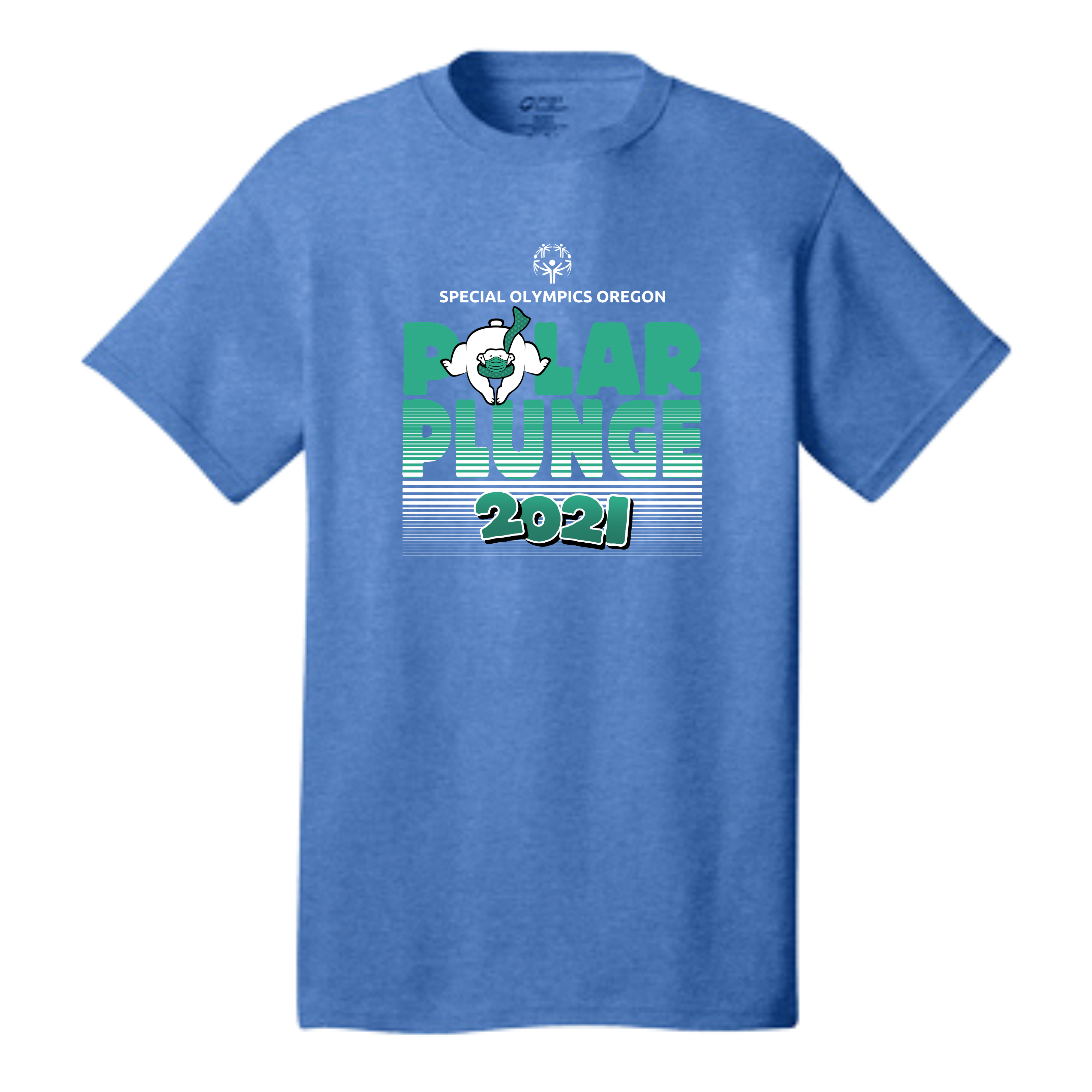 Blue heather t-shirt with Plunge logo in green and white