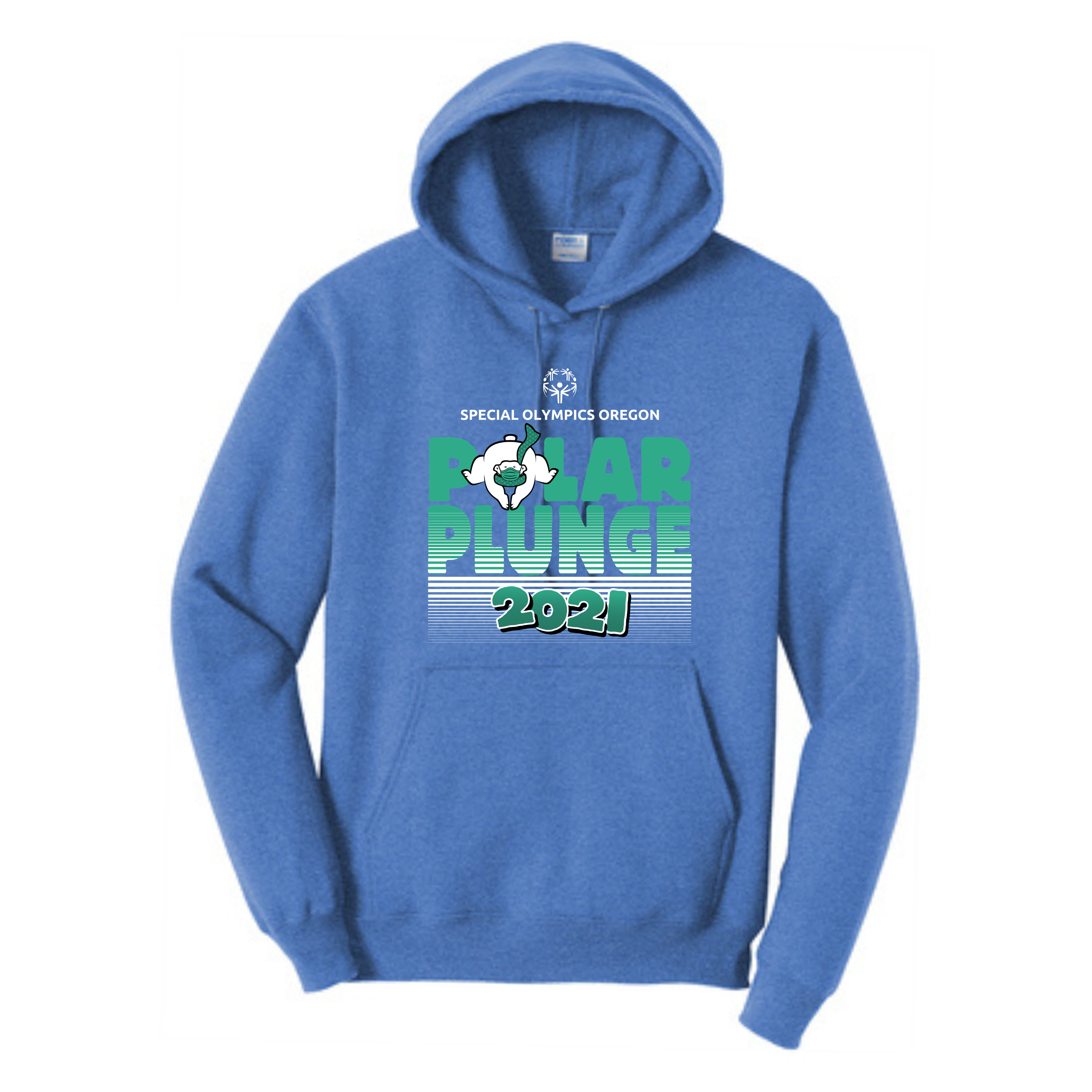 Blue heather sweatshirt with Plunge logo in green and white